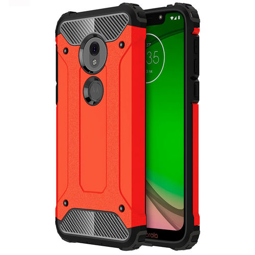 Military Defender Shockproof Case for Motorola Moto G7 Play - Red